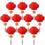 Juego de 10 faroles chinos de color rojo para decoración de bodas