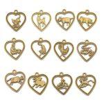12pcs Colgantes Amuleto Horóscopo de Zodiaco Chino Color Bronce Antiguo para Collar