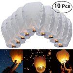 JRing 10 Piezas Linternas de Papel de Vuelo Chino Lámparas de Velas