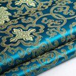 Tela china Youmu de satén Brocade, bordado de flor por hoja bordada, 1 meter y 10 colores TealBlue